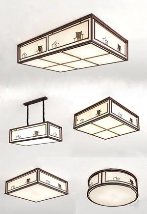 新中式吸頂燈組合3d模型