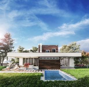 现代别墅游泳池外观 现代建筑 别墅外观 游泳池