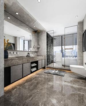 现代卫生间 现代卫浴 洗手台 马桶 浴缸 玻璃隔断 台盆 单头吊灯