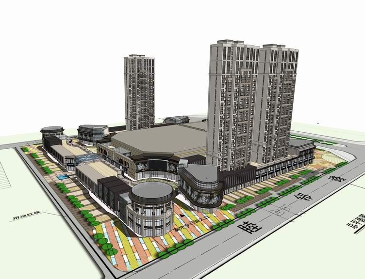 新古典高层住宅+现代商业街SU模型