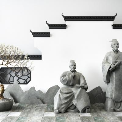 新中式古代文人雕塑马头墙片石盆栽组合3D模型
