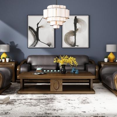 新中式实木皮革沙发茶几边几台灯吊灯组合3D模型