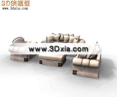 精美的沙发-很别致的沙发组合3D模型