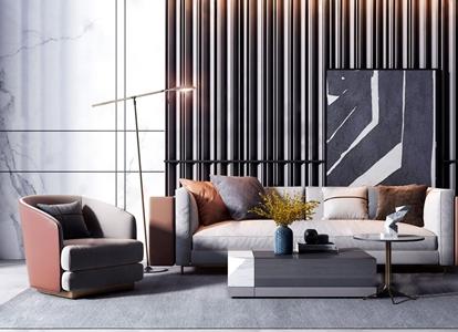 现代轻奢沙发茶几组合 现代沙发茶几组合 现代沙发茶几组合 双人沙发 茶几 单人沙发 落地灯