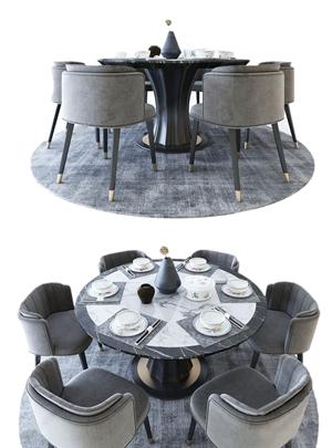 现代餐桌椅 现代餐桌 餐具 餐桌椅 大理石餐桌 花瓶 摆件