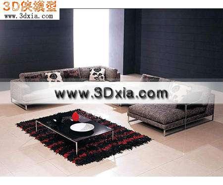 经典沙发-现代沙发组合3D模型