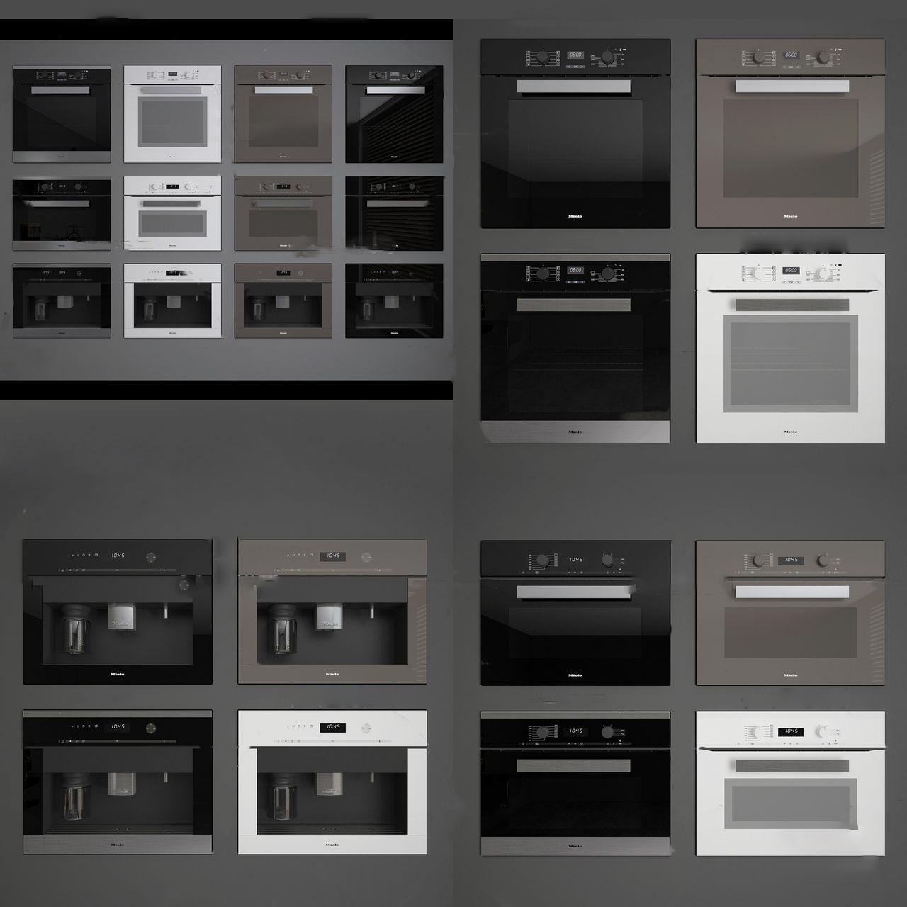 现代嵌入式烤箱微波炉3d模型