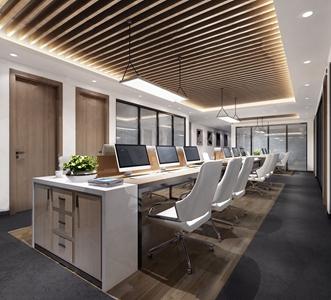现代简约办公室 现代办公区 办公桌 办公椅 边柜 绿植 吊灯
