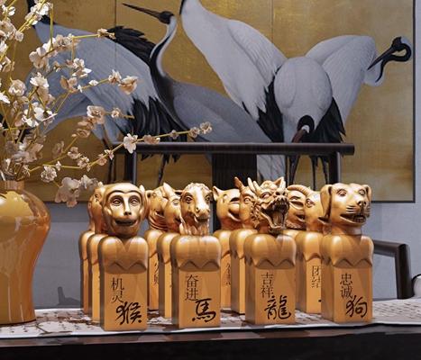 现代新中式陈设摆件组合 新中式摆件 十二生肖兽首雕塑印章陈设 摆件组合 花瓶