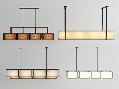新中式长条吊灯3d模型