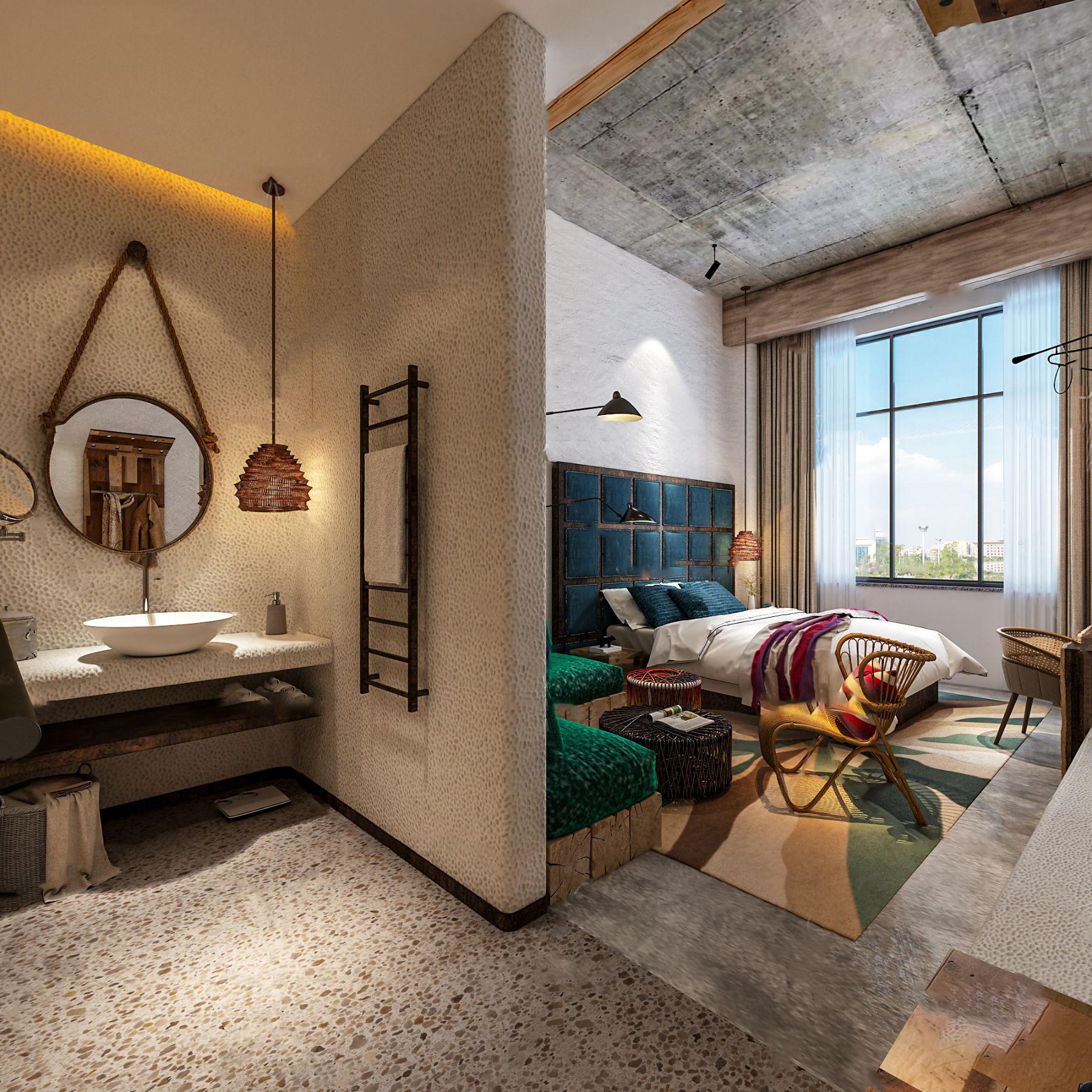 自然风民宿客房3d模型