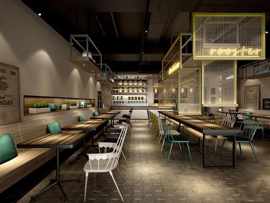 北欧工业风格时尚餐饮 北欧餐厅 餐桌椅 金属隔断 吊灯 手阴天