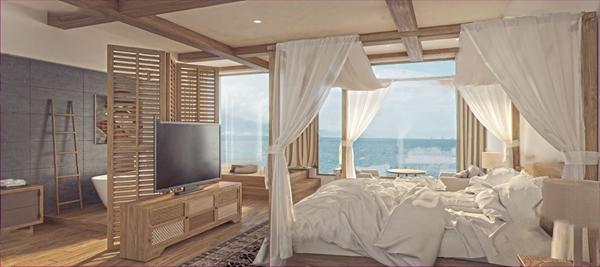 自然风民宿酒店客房3d模型