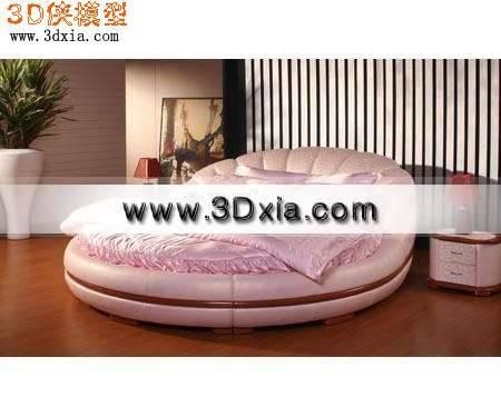 现代流行圆床3D模型下载