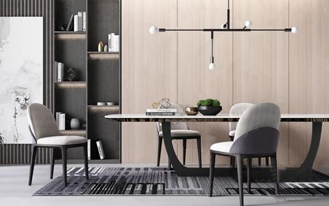 现代餐桌椅组合 现代餐桌椅 吊灯 单椅 餐椅 长餐桌