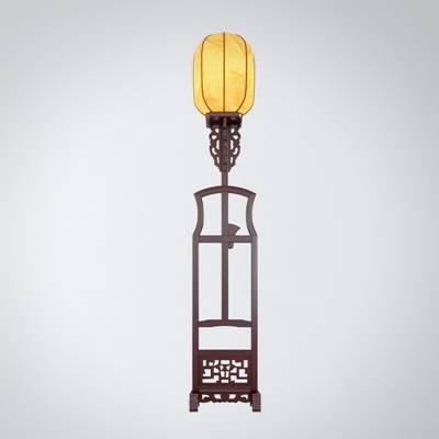 新中式原木色木艺落地灯