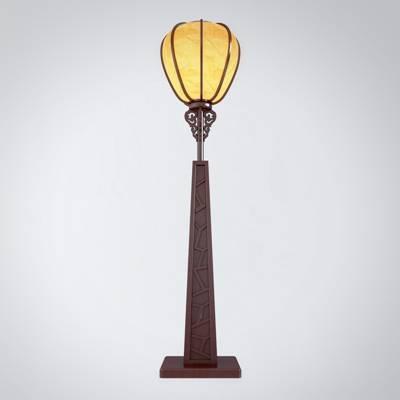 新中式棕色木艺落地灯