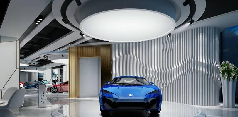 现代汽车展厅 蓝色汽车