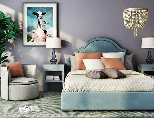 美式公主卧室家具组合 美式双人床 床头柜 单人沙发 吊灯 台灯 挂画 床品 地毯