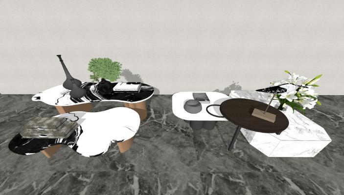 新中式茶几组合SU模型