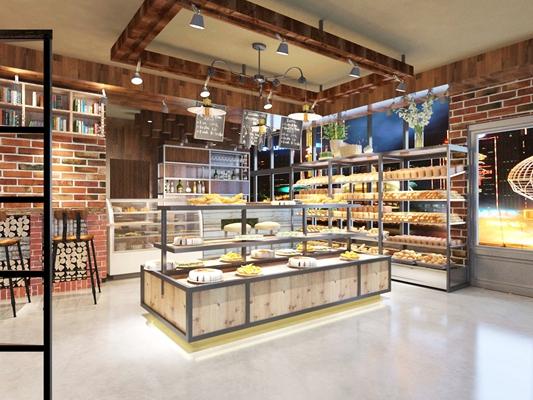 现代蛋糕房 现代木艺蛋糕柜 现代棕色木艺吧台吧椅组合