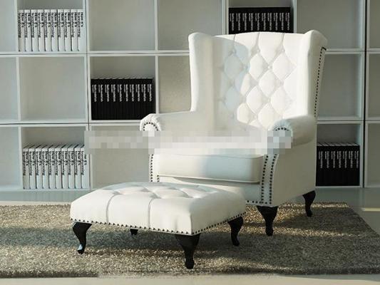 现代白色布艺沙发凳子组合