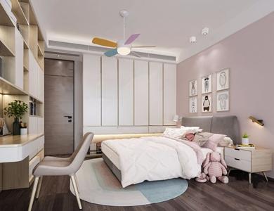现代简约女孩房 现代儿童房 双人床 床头柜 书桌 书柜 椅子 单椅 休闲椅 衣柜 墙饰