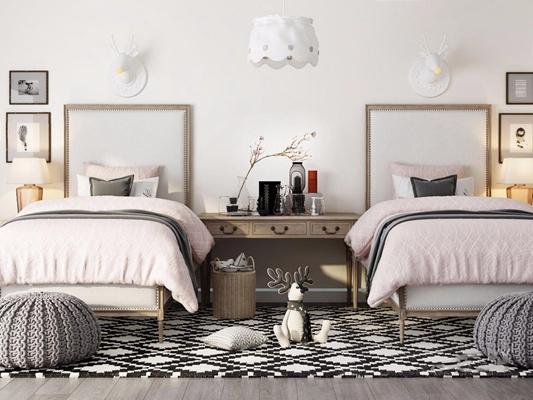 美式儿童床 美式单人床 儿童床 书桌 化妆台 吊灯 挂画 地毯 玩具 台灯 摆件 鹿头壁灯