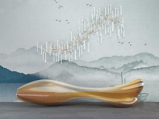 异型吧台灯具组合 龙骨异型曲线吧台 奢华山水背景 壁灯 吊灯
