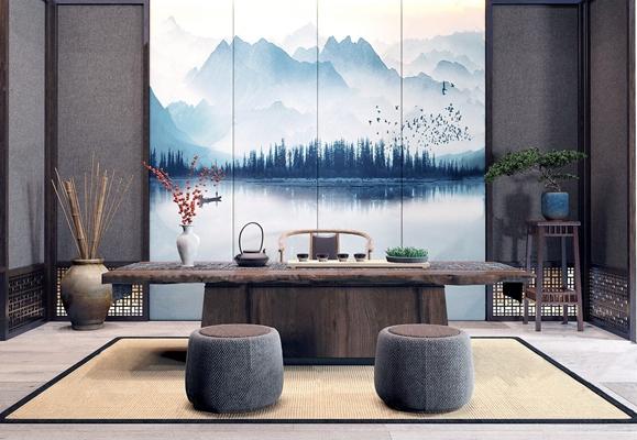 新中式茶室茶台凳屏风组合 新中式茶室 隔断 茶桌 绿植 干枝 软凳 禅意背景 休闲椅 茶壶 禅意饰品摆件