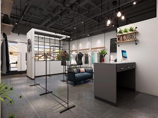 工业风女装店 工业风商业零售 收银台 吊灯 展示架 服装 衣架 门头