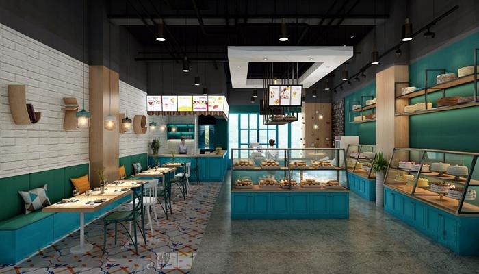 北欧蛋糕店 北欧蛋糕店 展柜 吊灯 墙饰 收银台