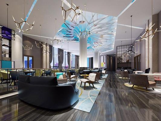 现代酒店咖啡厅 现代酒店咖啡厅 多人沙发 单人沙发 椅子 吊灯 桌子 吊顶 地毯 弧形沙发 柱子