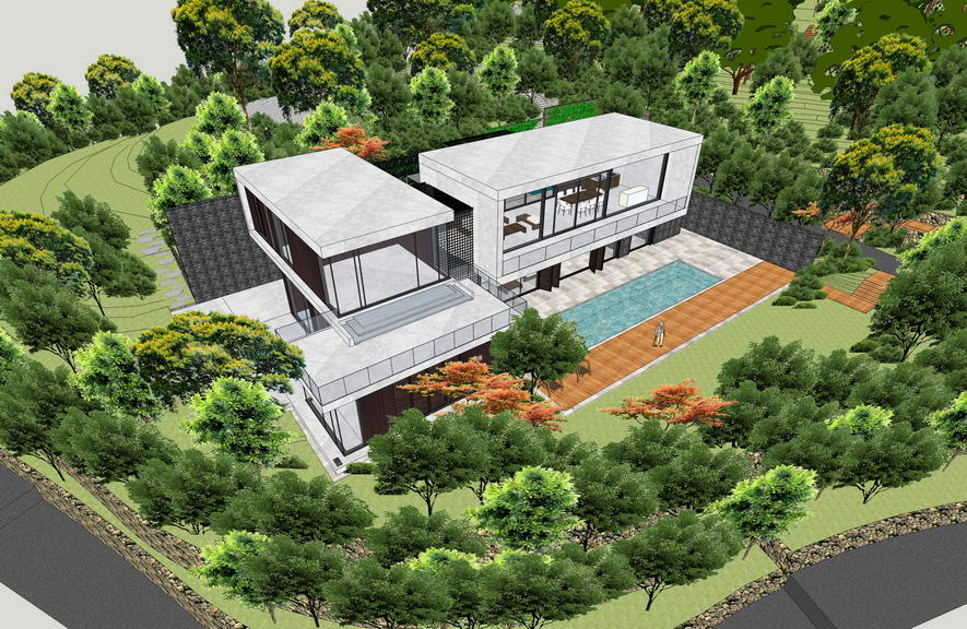 现代风格别墅带景观SU模型
