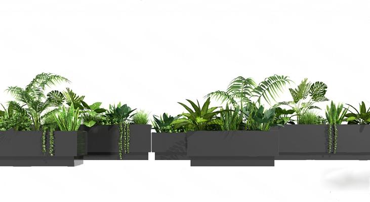 现代盆栽3D模型