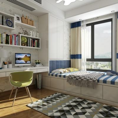现代卧室男孩房榻榻米3D模型