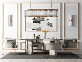 后现代餐桌椅吊灯摆件组合3D模型