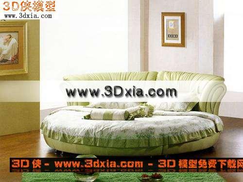 漂亮的家具-圆床3D模型