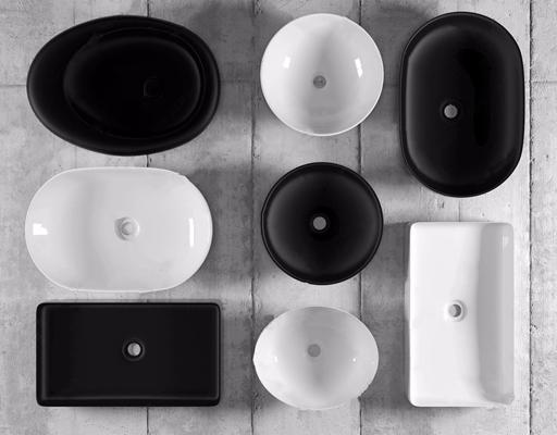 现代黑白圆形方形台上盆组合 现代卫浴用品 洗手盆 黑白圆形方形台上盆