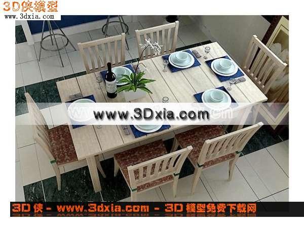 细腻的3D餐桌模型下载
