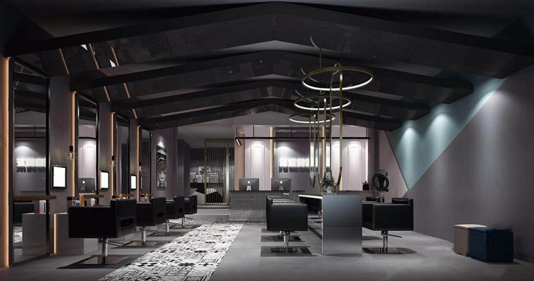 现代美发厅 现代理发店 椅子 镜子 收银台 吊顶 吊灯 储物柜
