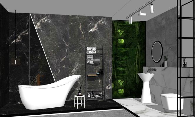 现代浴室浴缸摆件组合SU模型
