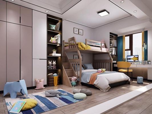 现代儿童房 现代儿童房 上下床 玩具 高低床 子母床 书桌 衣柜