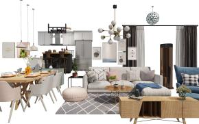 北欧沙发茶几餐桌椅电视柜摆件组合3D模型