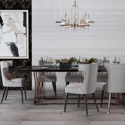 现代餐桌椅餐具吊灯摆件组合3D模型