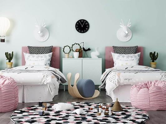 双胞胎儿童房软装搭配 北欧儿童床 单人床 鹿头壁灯 挂钟 边柜 玩具 坐垫 床品 地毯
