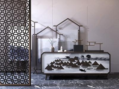 新中式边柜屏风 新中式边柜/玄关柜 玄关柜 装饰柜 屏风 花格 装饰架