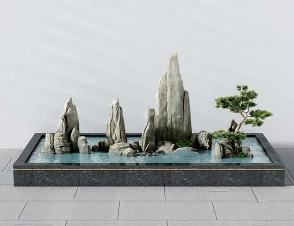 新中式假山水池景观小品3d模型