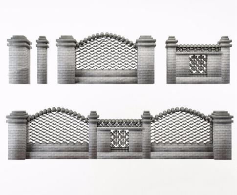 中式围墙 中式建筑 围墙 中式墙体 园林装饰