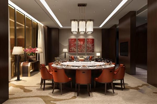 新中式餐厅 新中式餐厅 圆形餐桌 餐椅 新中式沙发 椅子 吊灯 餐边柜 边柜 挂画